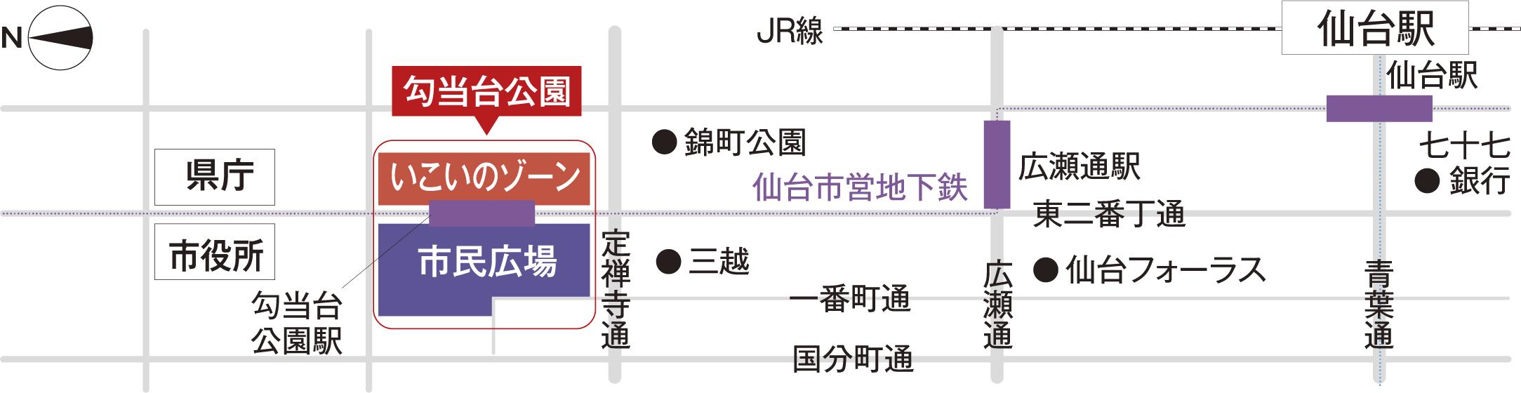JR仙台駅からのアクセス 地図画像